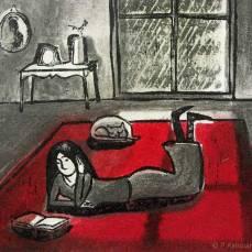 « Dans un carré de jour sale, allongée sur le grand tapis du salon, j'ai relu de vieux livres de poésie. Il pleure dans mon coeur, comme il pleut sur la ville, Paul Verlaine » linogravure et technique mixte.