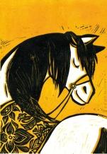 Cheval russe. Tirage jaune. linogravure.2013.