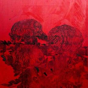 Chrysanthèmes rouges. Huile et gravure sur toile. 2014.