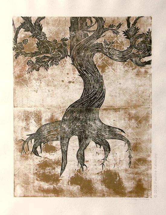 Mûrier penché. Linogravure et encre dorée. 2011. tirage unique (version 1). 30 x 40 cm. Tree of life. Linocut and golden ink.