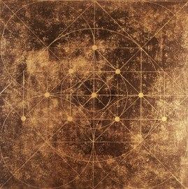 Tetratkys. 2011. Linogravure et encre dorée. 20 x 20 cm. Linocut and golden ink.
