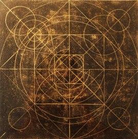 Mysterium cosmographicum. 2011. Linogravure et encre dorée.