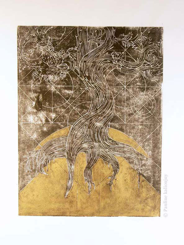 Mûrier penché. Linogravure et encre dorée. 2011. tirage unique (version 2). 30 x 40 cm. Tree of life. Linocut and golden ink.