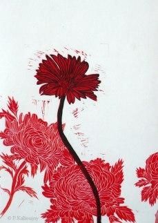 Fleur rouge. linogravure. 2014.