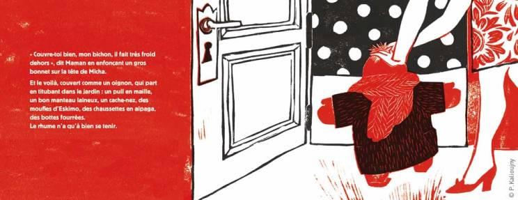 """""""Couvre-toi bien mon bichon, il fait très froid dehors"""". Planche extraite d'Un jardin en hiver"""", éditions Thierry Magnier."""