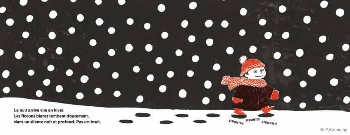"""""""La nuit arrive vite en hiver (...) pas un bruit"""". Planche extraite d'Un jardin en hiver"""", éditions Thierry Magnier."""