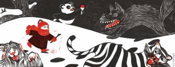 """""""Un loup des steppes? Un tigre de Sibérie? Un yéti du Ladakh, peut-être? Un panda polaire !"""". Planche extraite d'Un jardin en hiver"""", éditions Thierry Magnier."""