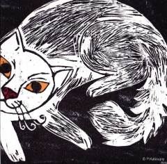 Chat. gravure sur bois et papier de couleur.