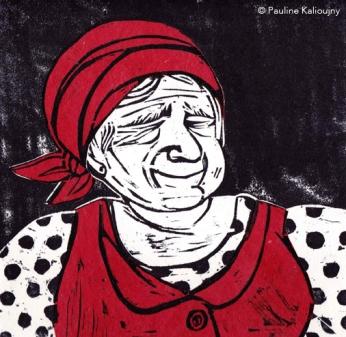 Babouchka. Gravure sur bois 2014.