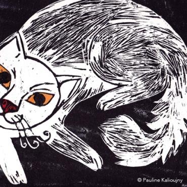 Chat. Gravure sur bois 2014.