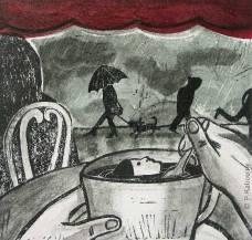 « J'ai un peu froid, les pieds mouillés, et je me noie, dans mon café. » Linogravure et technique mixte.