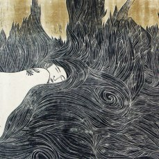 Oreiller d'herbes (la Nature en sommeil). Linogravure. 2013. 65 x 80 cm. Collection particulière.