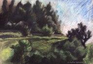 Paysage du sud de la France. Pastel sec sur papier gris. 2007. Landscape (south of France). Soft pastel on paper.