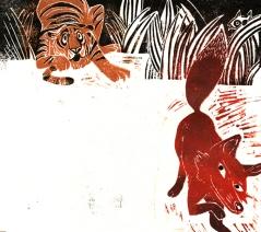 Planche extraite de Face au Tigre, éditions HongFei Cultures 2010. Linogravure.