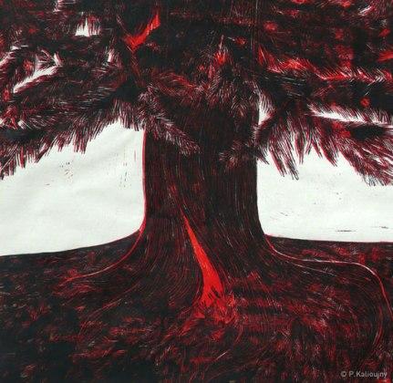 Arbre de douleur. Bleeding tree. Linogravure sur papier asiatique. 2013. 50 x 75 cm.