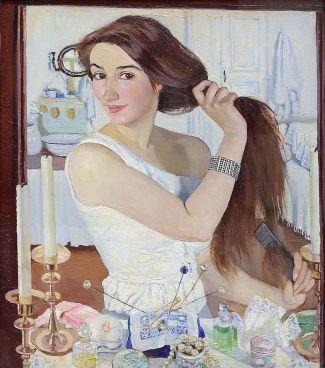 """Zinaïda Serebryakova, """"autoportrait"""". Serebryakova, née Lanceray (sa famille était d'origine française) en Ukraine en 1884, près de Kharkov, est la première femme russe à être reconnue comme un peintre important. Elle descend d'une longue dynastie d'artistes brillants. Sa vie fut bouleversée par la révolution d'Octobre. Après s'être déplacée de Kharkov vers Saint-Pétersburg, elle émigra finalement à Paris, ou elle s'éteignit en 1967, ne pouvant rejoindre la Russie et ses quatre enfants restés au pays. Son oeuvre fut tardivement réhabilitée en Russie, avec une grande exposition en 1960. Dans ces deux toiles du Trétiakov, elle rend avec beaucoup de force et de fraîcheur la vie domestique et familiale."""