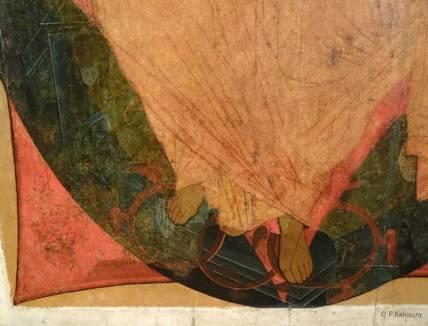 Détail d'un Christ en Gloire du 14ème siècle. Icône. Juste un morceau de peinture, pour le plaisir de la composition et des couleurs...Mais il y aurait beaucoup à dire sur le département des icônes du Tretiakov.