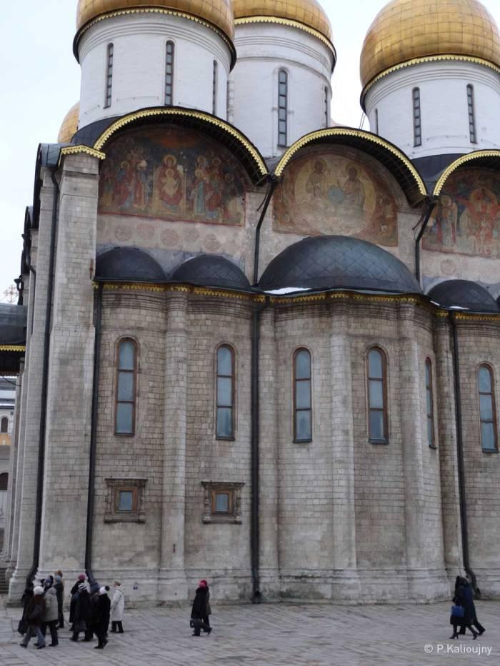 Une groupe de visiteurs au Kremlin.