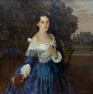 Une femme en bleu. De Somov. 1897-1900.