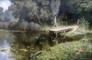"Polenov. ""Étang envahi"". 1879."