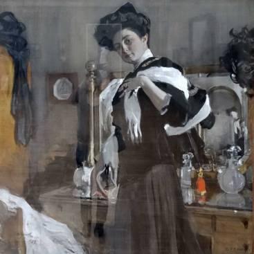 """Serov. """"Portrait de l'actrice G.R. Ghearshman"""". Ne vous fait-elle pas un peu penser à la peinture de Manet, une sorte de mélange entre """"Nana"""" et """"le bar aux Folies Bergère""""?"""