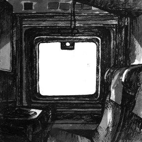 La cabine du Paris-Moscou. Croquis à l' Encre de Chine.