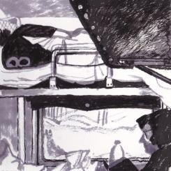 Dormir et lire. Le temps est long dans le train. Croquis à l' encre.