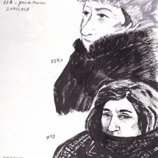 Portraits réalisés à la gare de iaroslav, Moscou, avant le départ du train. Croquis à l' encre et stylo.