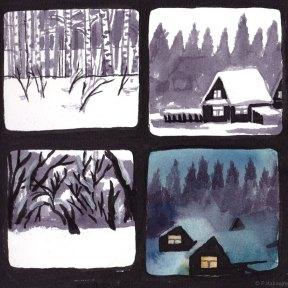 Captures de paysages. Biélorussie. Croquis à l' encre et aquarelle.