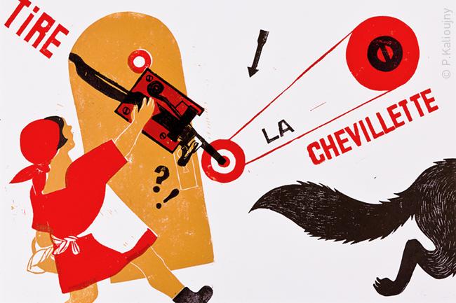 """le petit chaperon """"rouge"""" - linogravure - Fonds de la médiathèque Françoise Sagan (tirage 1/3) ; collection particulière (tirage 2/3)."""