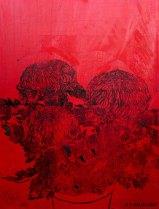 Chrysanthèmes rouges. 2014. Estampe et huile sur toile. détail du tryptique.