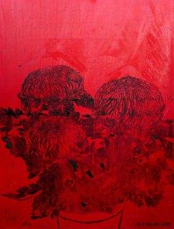 Chrysanthèmes rouges. 2014. Estampe sur toile. détail du tryptique.