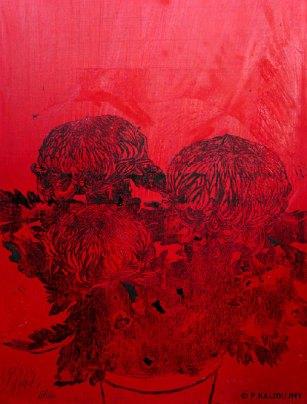 Chrysanthèmes rouges. 2014. Estampe et huile sur toile. détail du tryptique.(disponible à la vente)