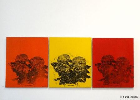 Série des chrysanthèmes, 2014-2016, estampes sur toile.