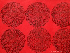 Motif de dahlias rouges, 2016, estampes sur papier asiatique.