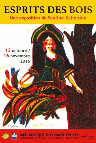 """Exposition """"Esprits des bois"""", Médiathèque du Grand Troyes, dans le cadre des trente ans du Salon du livre pour la jeunesse. Vernissage le 13 octobre à 18h00."""