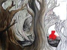 L'Appel de la forêt. Encre et papier découpé. 2015. Collection de la Médiathèque de Troyes.