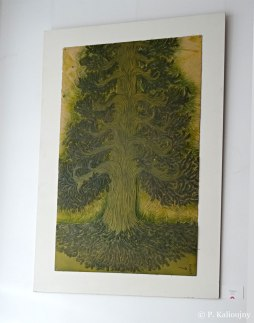 Exposition de la matrice du Pin de Barenton au festival de Moulins, sept.-oct. 2017