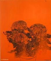 Chrysanthèmes oranges. 2014. Estampe et huile sur toile. détail du tryptique.