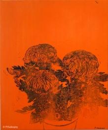 Chrysanthèmes oranges. 2014. Estampe et huile sur toile. détail du tryptique. (disponible à la vente)