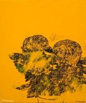 Chrysanthèmes jaunes. 2014. Estampe et huile sur toile. détail du tryptique.