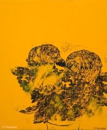 Chrysanthèmes jaunes. 2014. Estampe et huile sur toile. détail du tryptique.(disponible à la vente)
