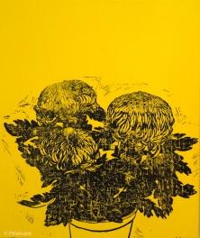 Chrysanthèmes jaunes 2. 2014. Estampe et huile sur toile. détail du tryptique. (disponible à la vente)