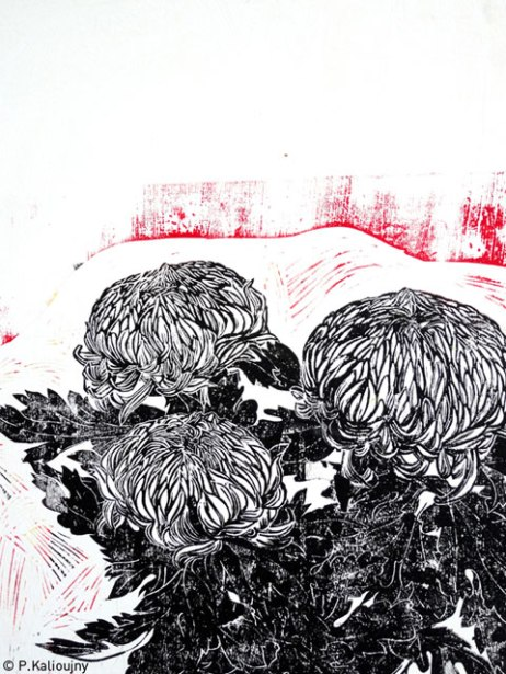 Chrysanthèmes 2014. Estampe sur carton. détail du tryptique. (disponible à la vente)