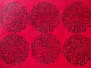 Dahlias Rouge_rose. Estampes sur papier précieux Népalais. Environ 56 x 76 cm (disponible à la vente)