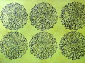 Dahlias Verts. Estampes sur papier précieux Népalais. Environ 56 x 76 cm (disponible à la vente)
