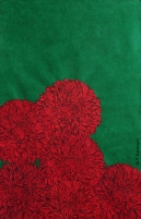 Dahlias rouges sur fond vert. Estampes et collage sur papier précieux népalais. environ 76 x 56 cm. (Disponible à la vente)